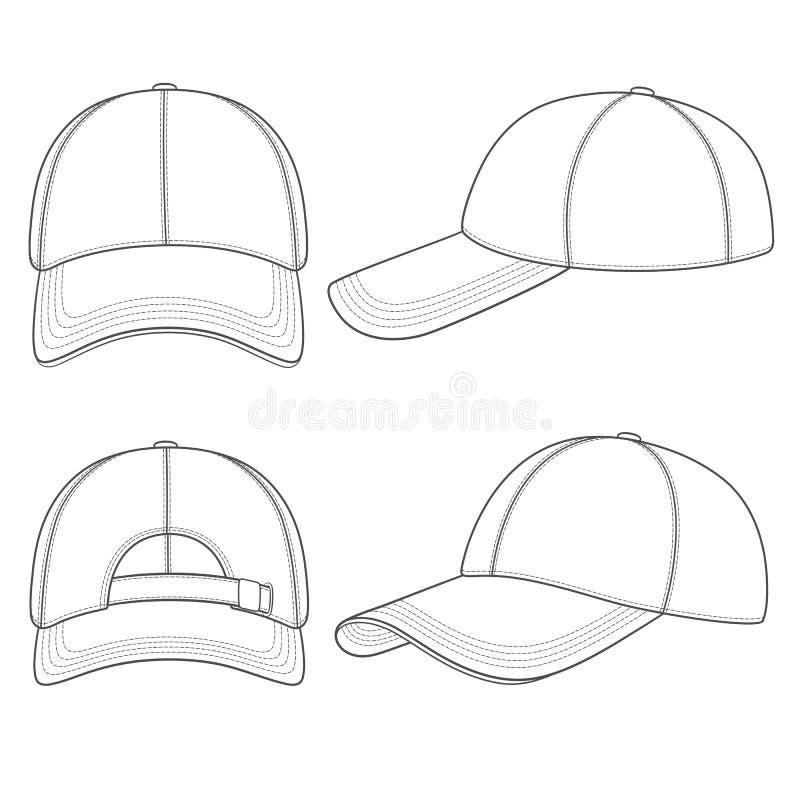 Insieme delle illustrazioni in bianco e nero con un berretto da baseball Oggetti isolati di vettore illustrazione vettoriale