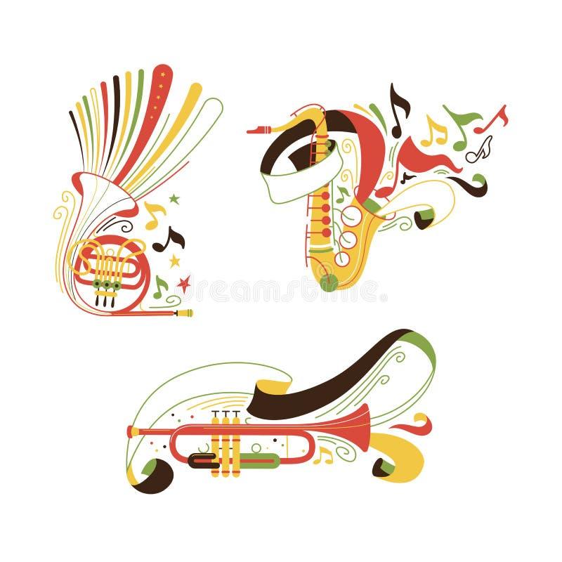 Insieme delle illustrazioni degli strumenti musicali degli strumenti a fiato e dell'ottone royalty illustrazione gratis