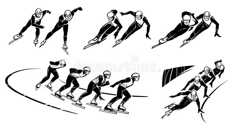 Insieme delle illustrazioni dei pattinatori di velocità Breve pista illustrazione di stock