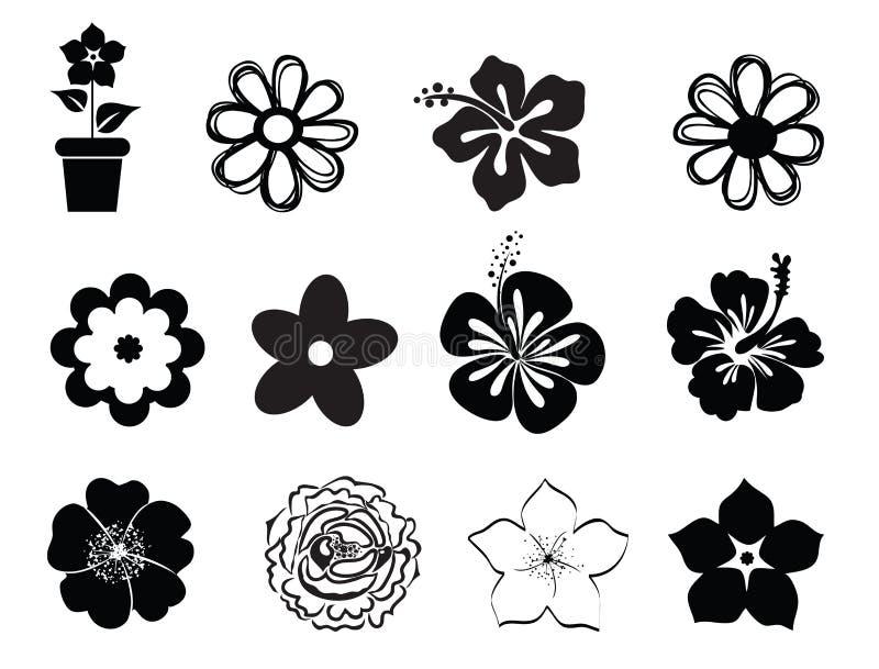 Insieme delle illustrazioni del fiore illustrazione di stock