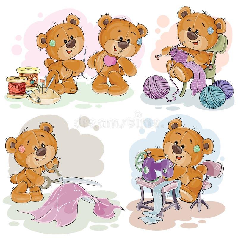 Insieme delle illustrazioni di clipart degli orsacchiotti e del loro hobby della domestica della mano royalty illustrazione gratis