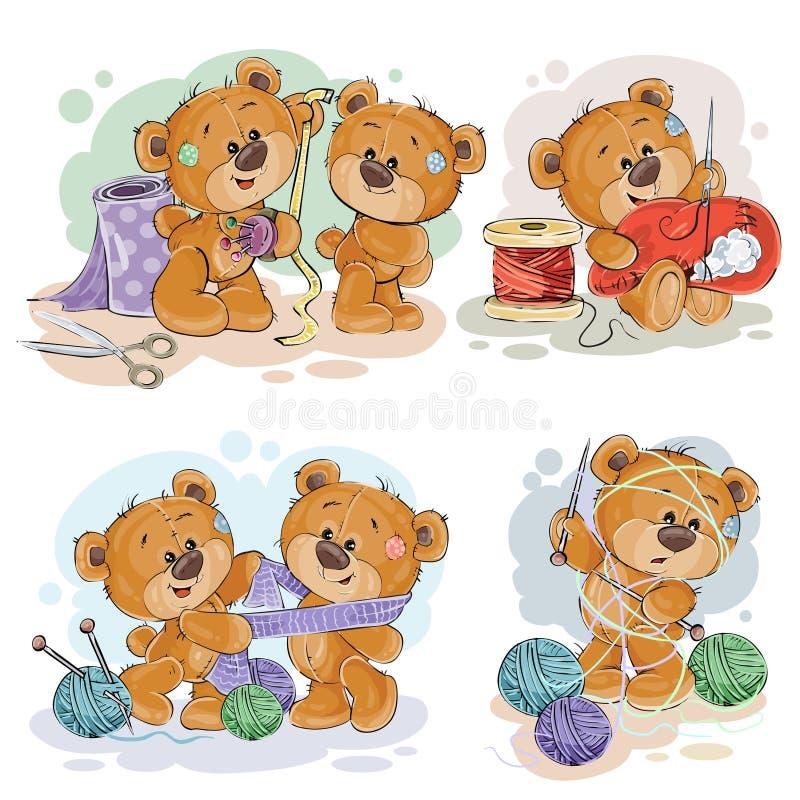 Insieme delle illustrazioni di clipart degli orsacchiotti e del loro hobby della domestica della mano illustrazione vettoriale