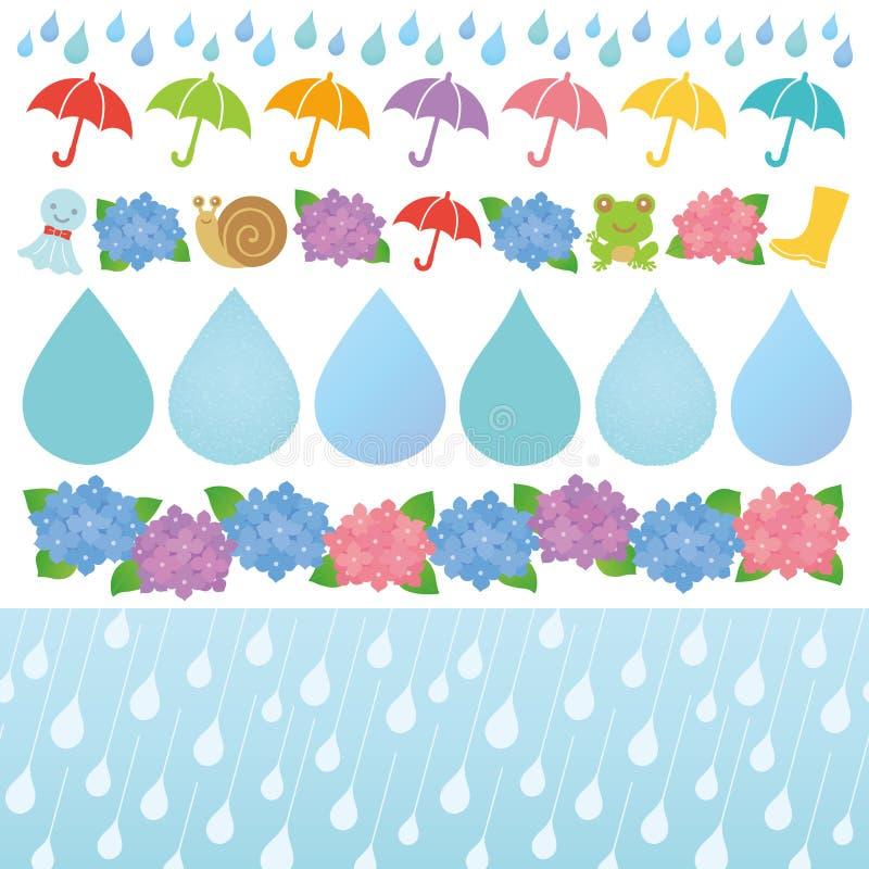 Insieme delle illustrazioni di giorno piovoso. royalty illustrazione gratis