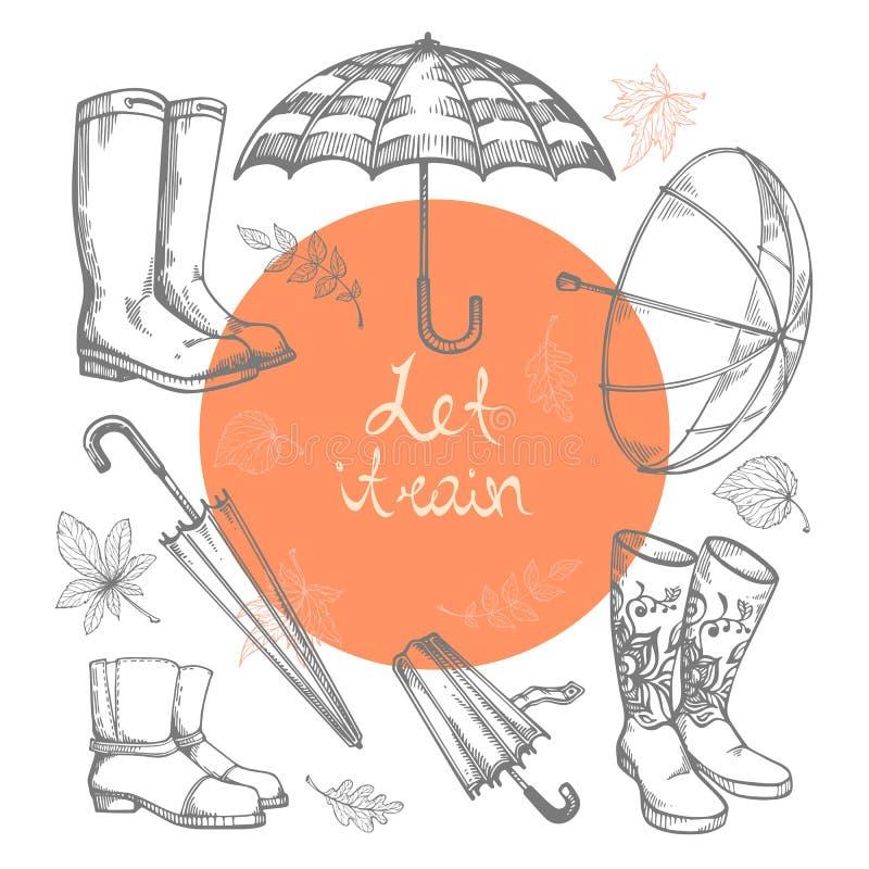 Insieme delle illustrazioni di vettore degli ombrelli disegnati a mano, degli stivali di gomma e delle foglie di autunno illustrazione vettoriale