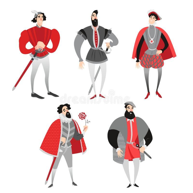 Insieme delle illustrazioni di vettore di principi divertenti del fumetto in costumi storici caratteri di fiaba illustrazione vettoriale