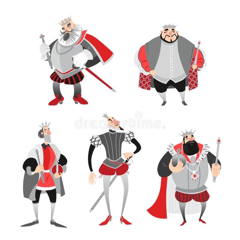 Insieme delle illustrazioni di vettore di re divertenti del fumetto in costumi storici caratteri di fiaba royalty illustrazione gratis