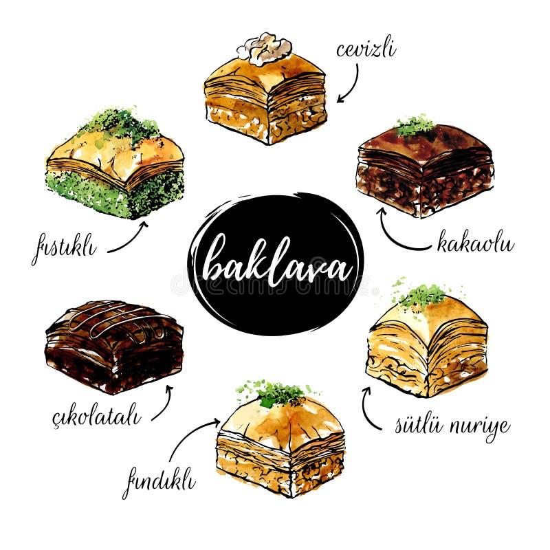 Insieme delle illustrazioni disegnate a mano di vettore dell'acquerello della baklava turca del dessert illustrazione di stock