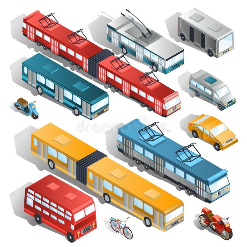 Insieme delle illustrazioni isometriche di trasporto municipale della città illustrazione di stock