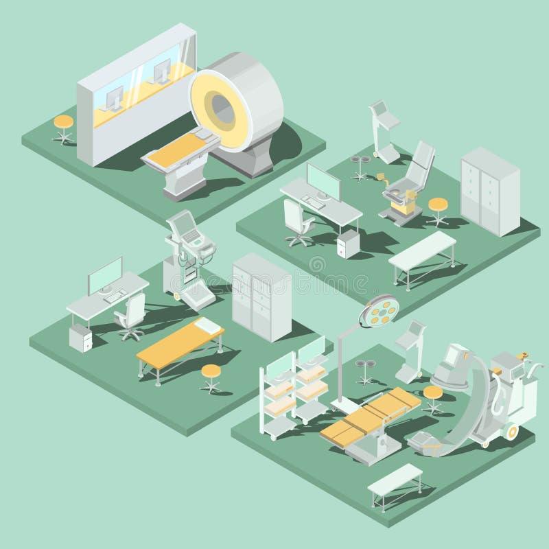 Insieme delle illustrazioni isometriche piane 3D dei locali medici nella clinica con l'attrezzatura appropriata illustrazione vettoriale