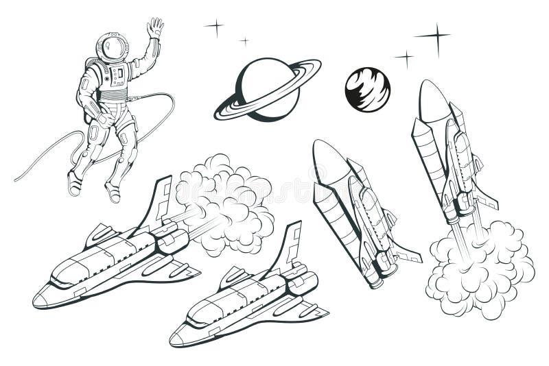 Insieme delle illustrazioni su un tema dello spazio Navetta spaziale Astronave disegnata a mano Viaggio nello spazio attraverso l royalty illustrazione gratis