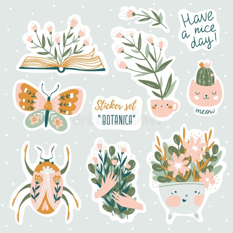 Insieme delle illustrazioni sveglie di scarabocchi di vettore con gli elementi di progettazione grafica e del testo Progettazione royalty illustrazione gratis