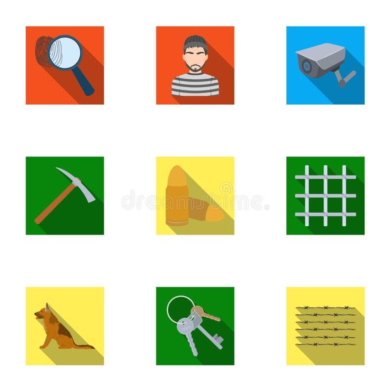 Insieme delle immagini circa la prigione ed i prigionieri Sorveglianza dei ladri, della corte, del crimine e della punizione Icon illustrazione di stock