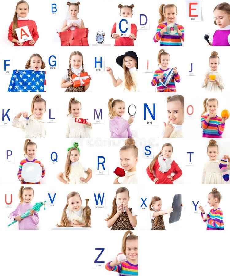Insieme delle immagini con differenti lettere ed emozioni fotografie stock libere da diritti