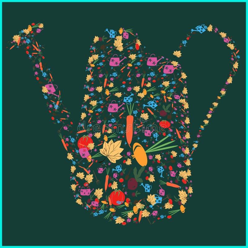 Insieme delle immagini degli strumenti di giardino, cipolle delle verdure, barbabietole, carote, foglia Disposto sotto forma di i royalty illustrazione gratis