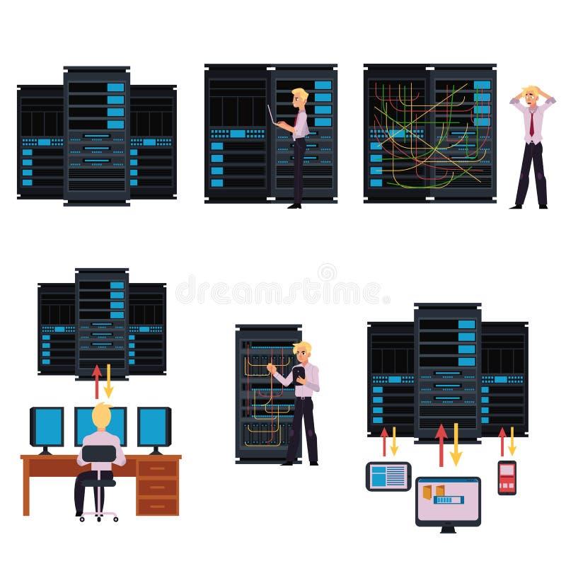 Insieme delle immagini della stanza del server con il centro dati ed il giovane amministratore di sistema royalty illustrazione gratis