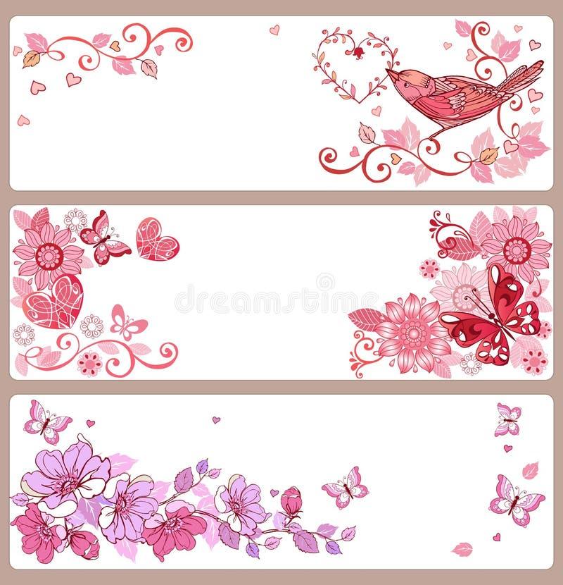 Insieme delle insegne con i cuori e delle farfalle per il giorno del ` s del biglietto di S. Valentino, illustrazione di stock