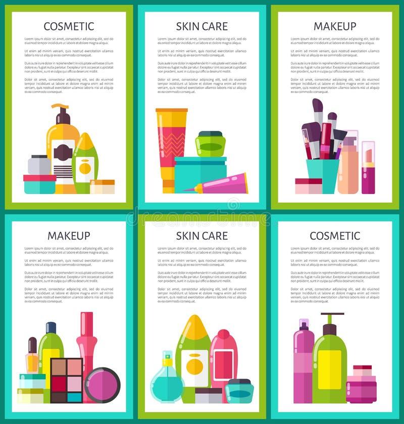 Insieme delle insegne cosmetiche di colore di trucco di cura di pelle illustrazione vettoriale