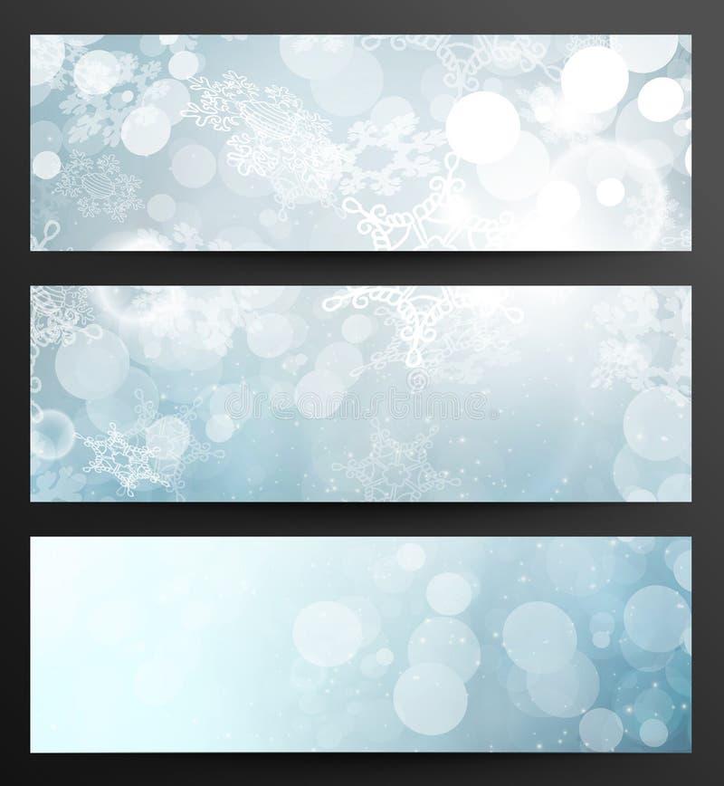 Insieme delle insegne dei fiocchi di neve dell'estratto di inverno illustrazione vettoriale