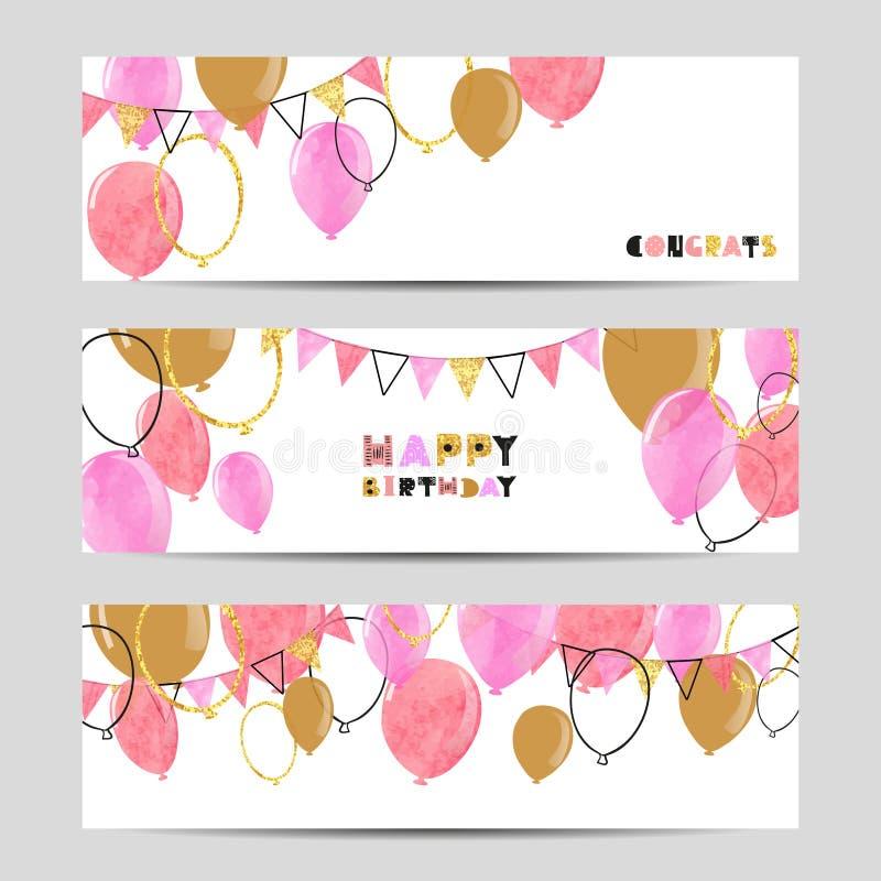 Insieme delle insegne del partito di celebrazione con i palloni rosa e dorati royalty illustrazione gratis