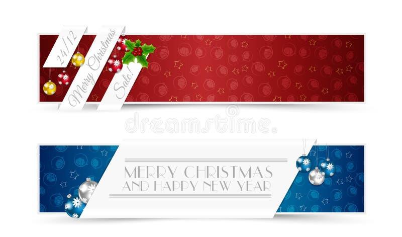 Insieme delle insegne di Natale illustrazione vettoriale