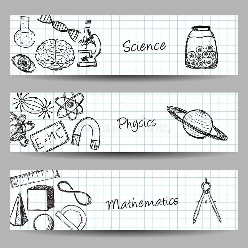 Insieme delle insegne di scienza illustrazione vettoriale
