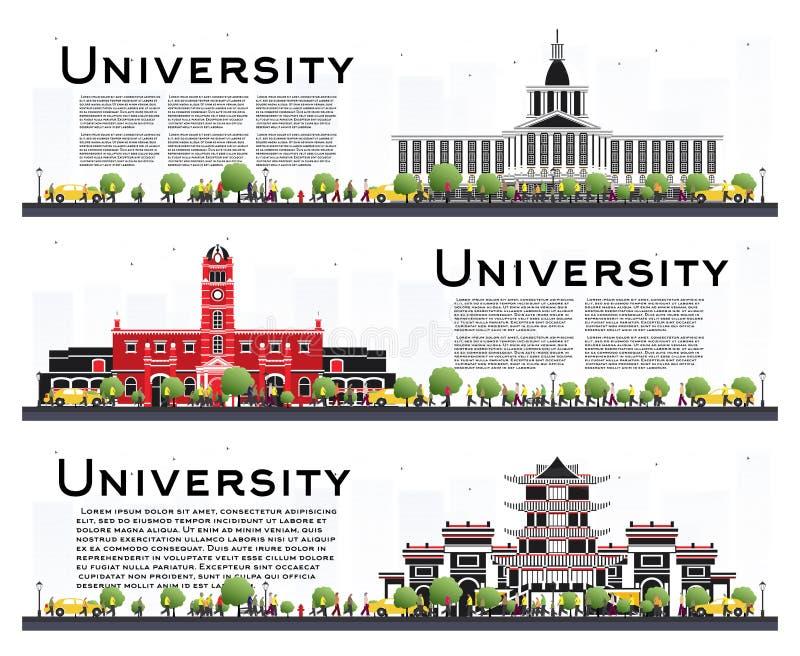 Insieme delle insegne di studio del campus universitario isolate su bianco illustrazione vettoriale