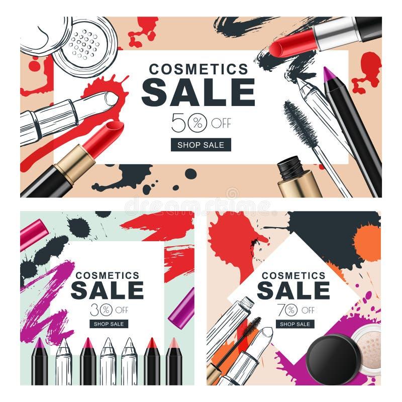 Insieme delle insegne di vendita con i cosmetici di trucco e le macchie dell'acquerello illustrazione vettoriale