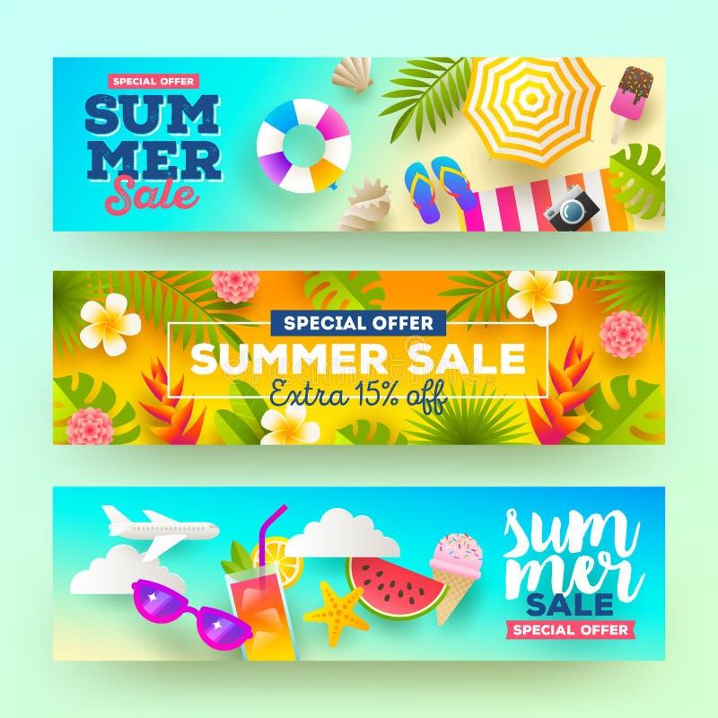 Insieme delle insegne di vendita di estate