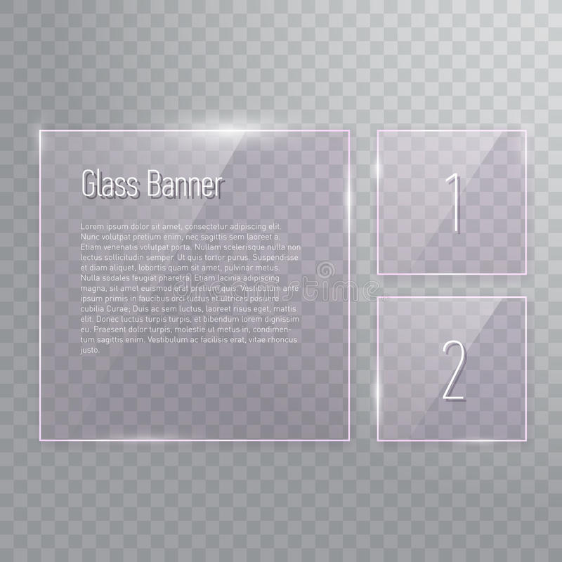 Insieme delle insegne di vetro quadrate di riflessione trasparenti illustrazione vettoriale