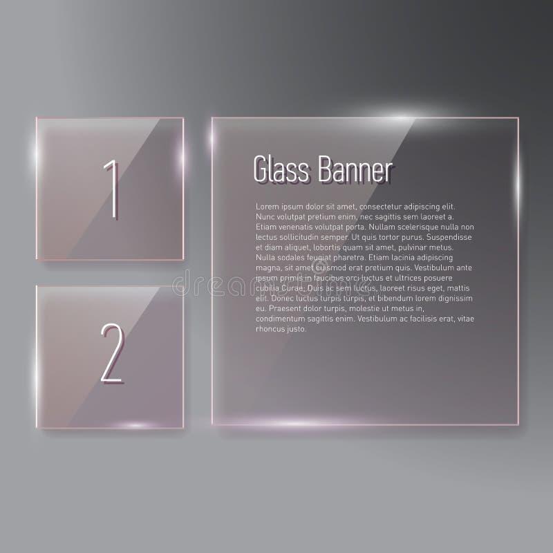 Insieme delle insegne di vetro quadrate di riflessione trasparenti royalty illustrazione gratis