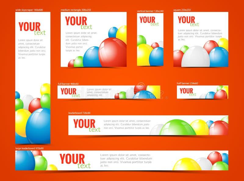 Insieme delle insegne di web con i palloni illustrazione di stock