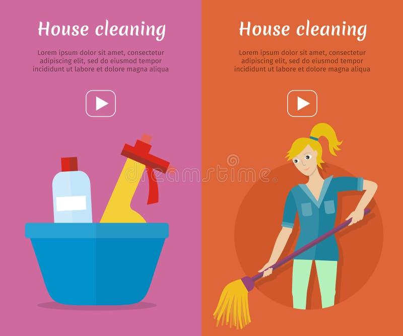 Insieme delle insegne di web di stile del piano di servizio di pulizia royalty illustrazione gratis