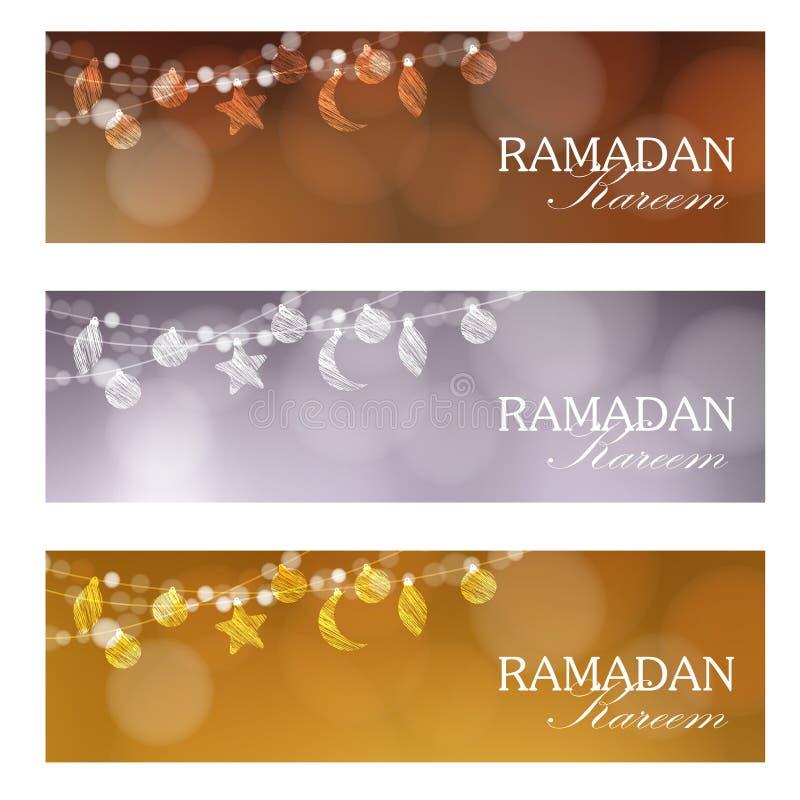 Insieme delle insegne di web per il mese santo Ramadan Kareem della comunità musulmana illustrazione vettoriale