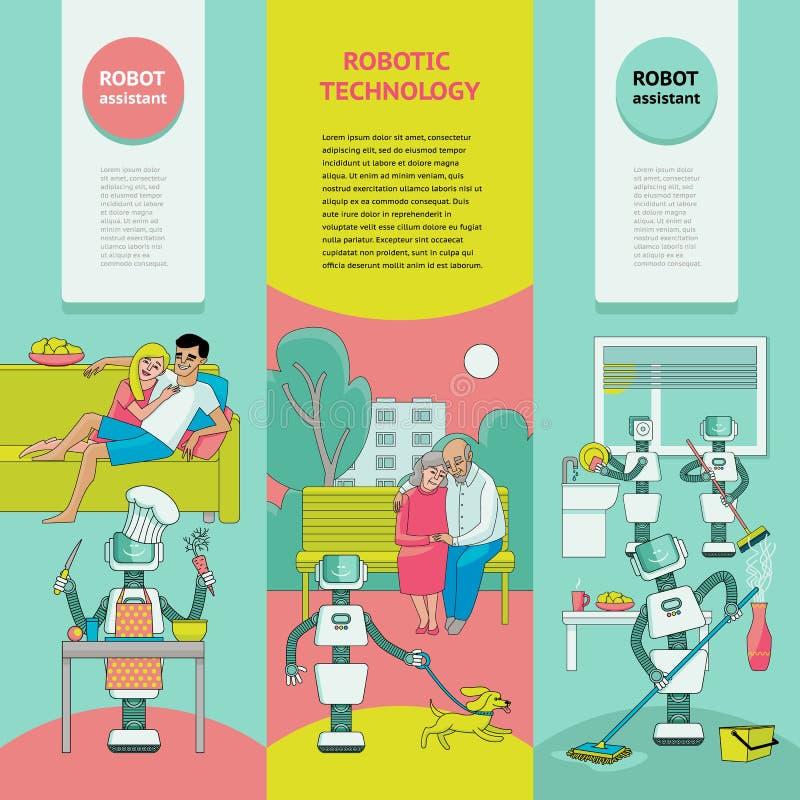 Insieme delle insegne - i robot liberano la gente da lavoro domestico illustrazione di stock