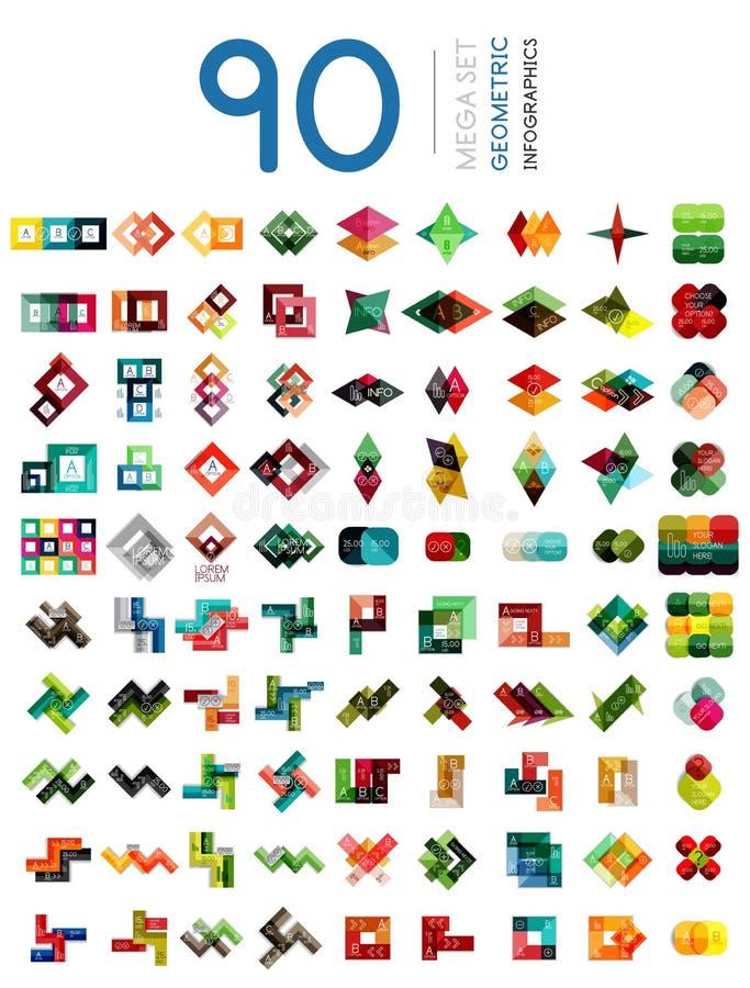 Insieme delle insegne infographic a forma di geometriche di opzione illustrazione di stock