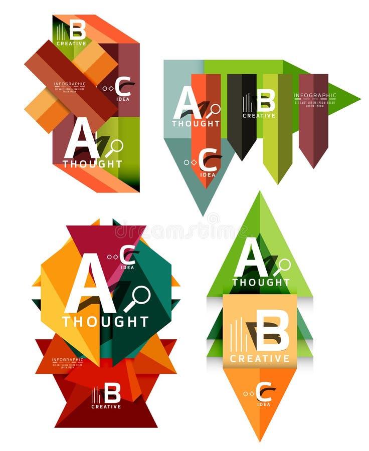 Insieme delle insegne infographic geometriche, informazioni che di carta i diagrammi di un'opzione di b c hanno creato con le for illustrazione vettoriale