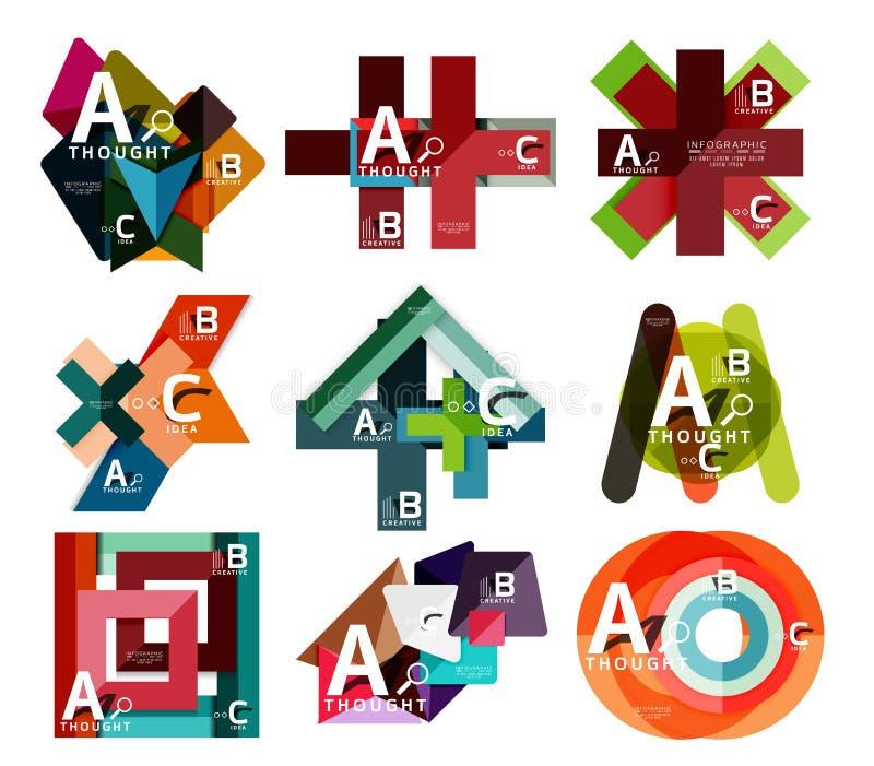 Insieme delle insegne infographic geometriche, informazioni che di carta i diagrammi di un'opzione di b c hanno creato con le for royalty illustrazione gratis