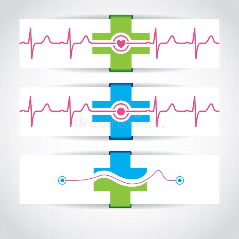 Insieme delle insegne o del sito Web mediche illustrazione vettoriale