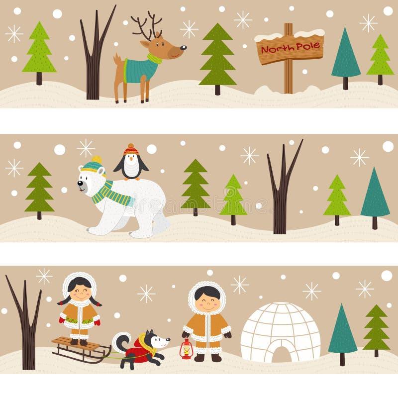 Insieme delle insegne orizzontali con gli eschimesi e gli animali polari illustrazione vettoriale