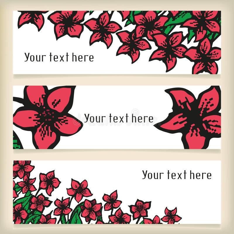 Insieme delle insegne orizzontali con scarabocchiare i fiori illustrazione vettoriale