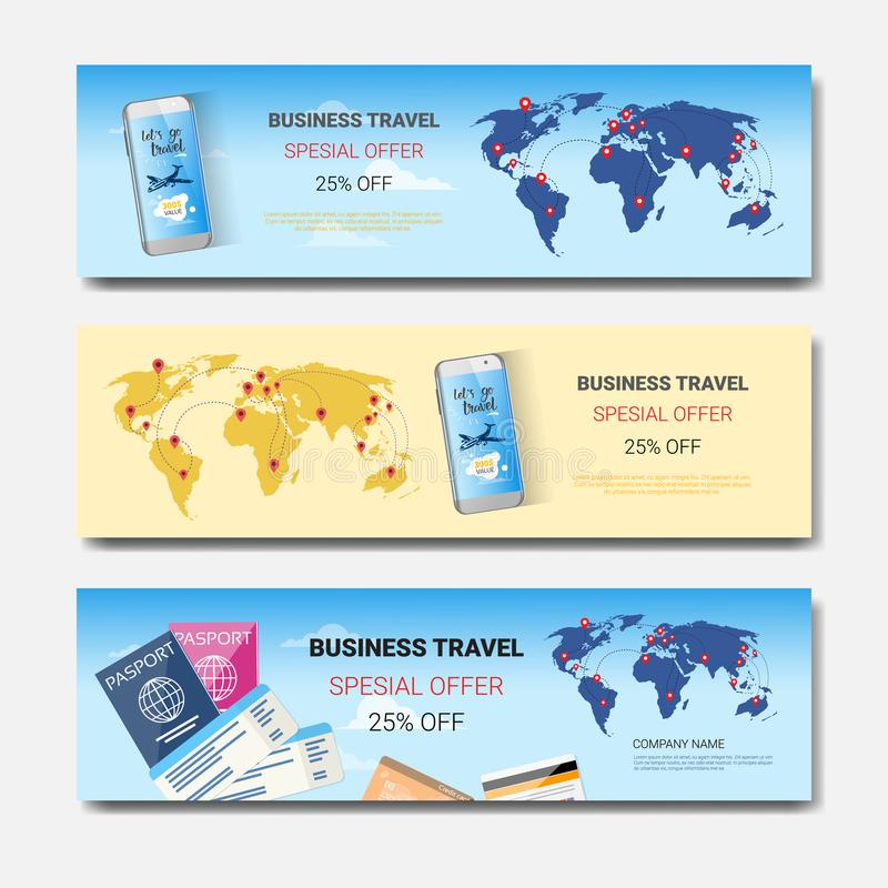 Insieme delle insegne orizzontali del modello, progettazione stagionale di offerta speciale di viaggio d'affari dei manifesti di  illustrazione vettoriale