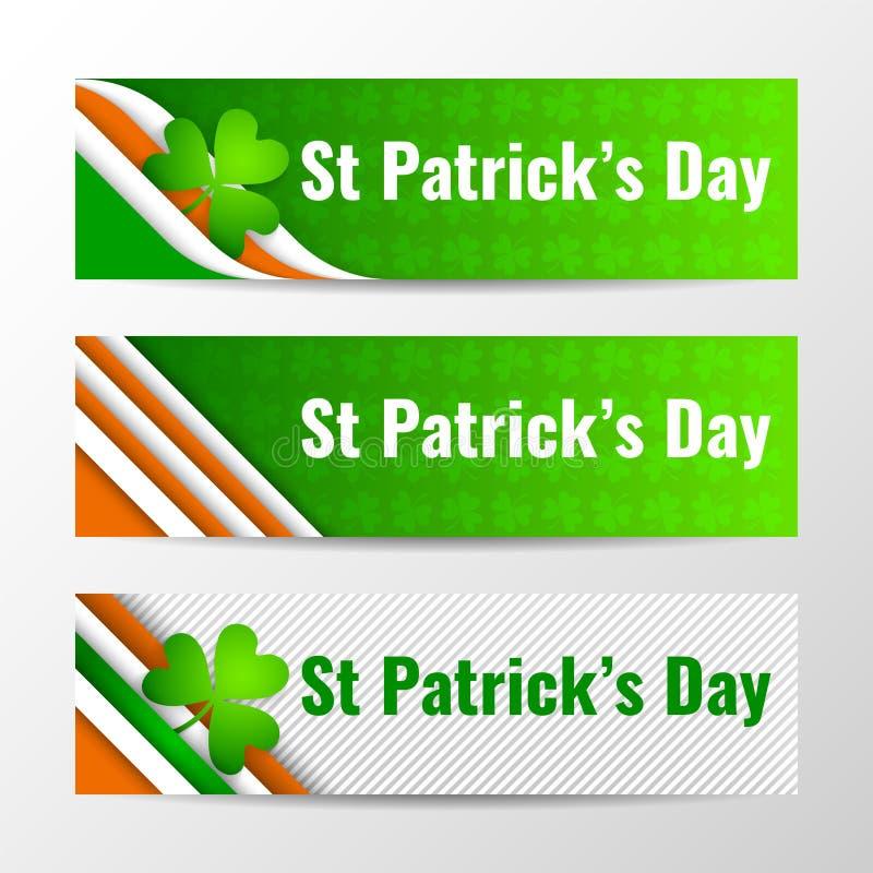 Insieme delle insegne orizzontali di vettore moderno, intestazioni di pagina con testo per il giorno di St Patrick Illustrazione  royalty illustrazione gratis