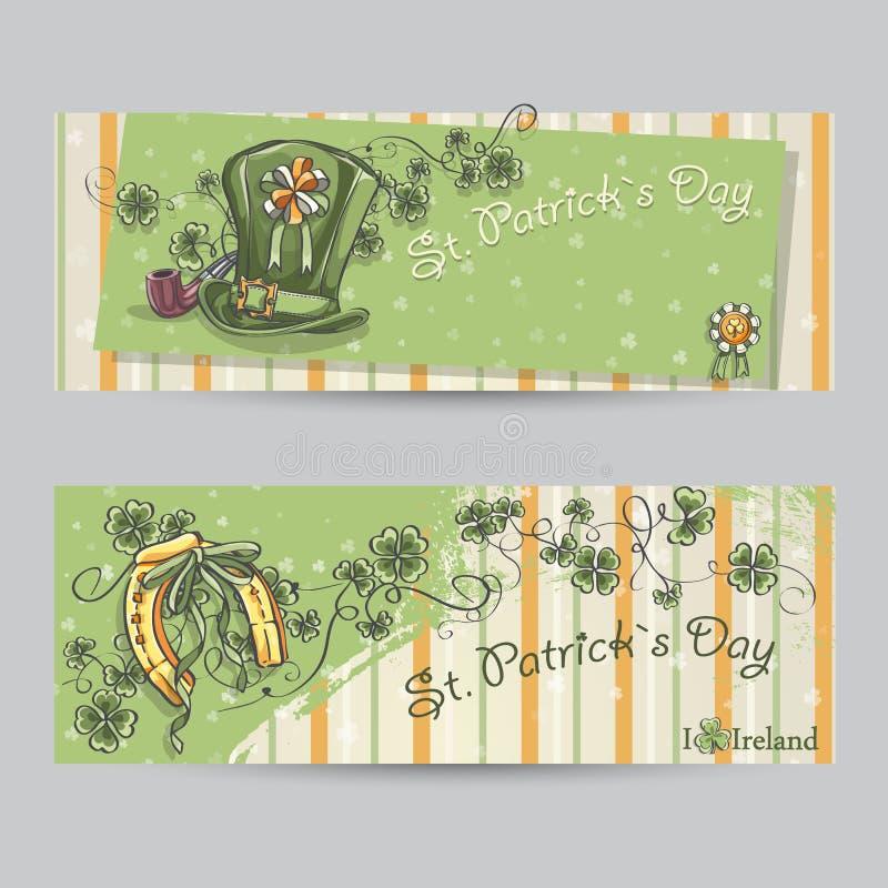 Insieme delle insegne orizzontali per il giorno di St Patrick con le foglie royalty illustrazione gratis