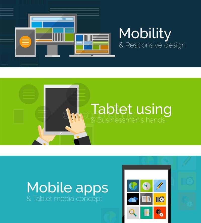 Insieme delle insegne piane di progettazione, settore della telefonia mobile illustrazione di stock