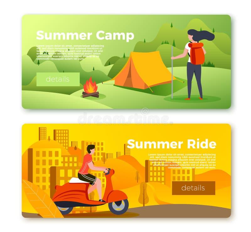 Insieme delle insegne, ragazza di campeggio, uomo di vettore sulla bici illustrazione di stock