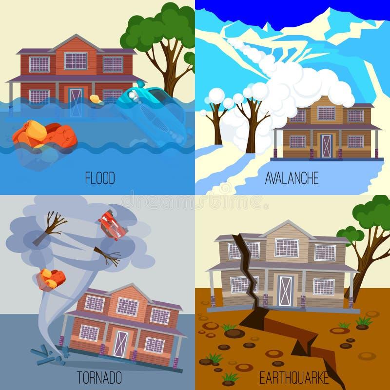 Insieme delle insegne tornado, terremoto, valanga, inondazione di disastri naturali royalty illustrazione gratis