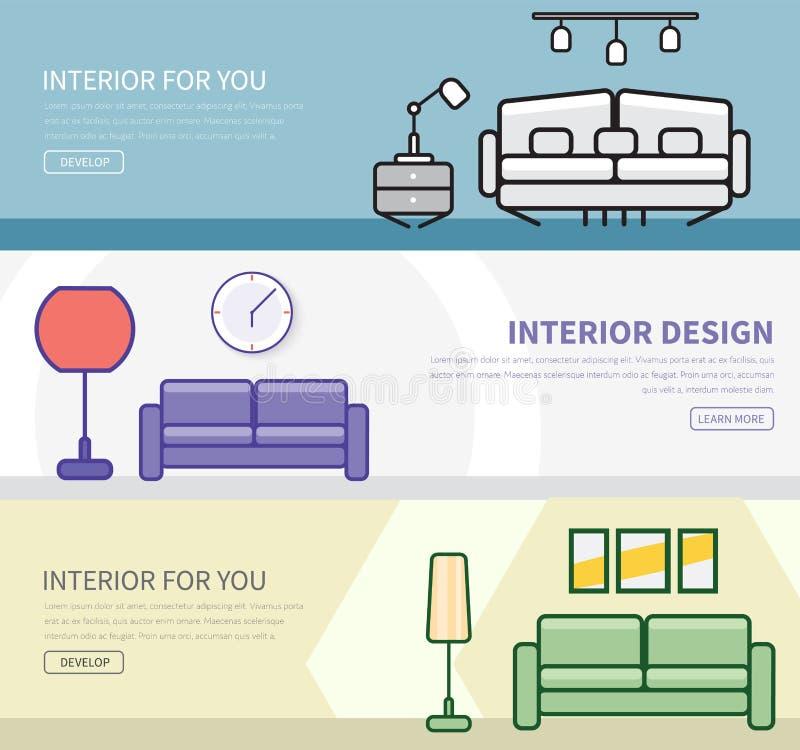 Insieme delle insegne in uno stile piano con interior design illustrazione di stock