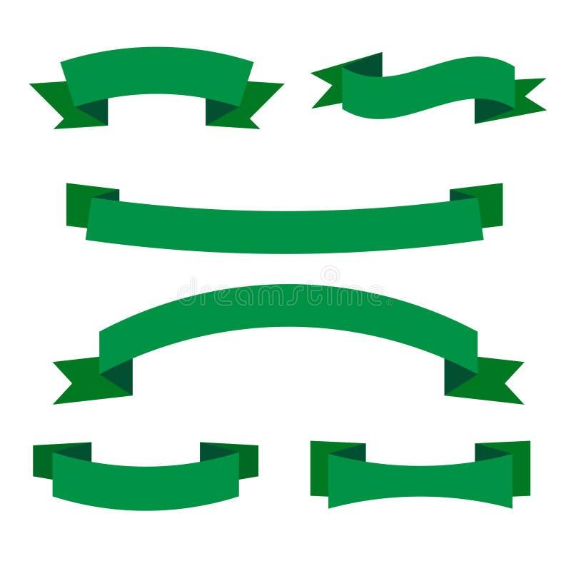Insieme delle insegne verdi del nastro Raccolta degli elementi del rotolo di eco illustrazione vettoriale