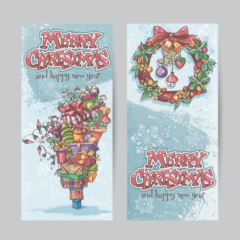 Insieme delle insegne verticali con l'immagine dei regali di Natale, ghirlande delle luci e delle corone di Natale con i giocatto illustrazione di stock