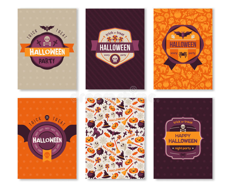Insieme delle insegne verticali di Halloween con le etichette illustrazione di stock